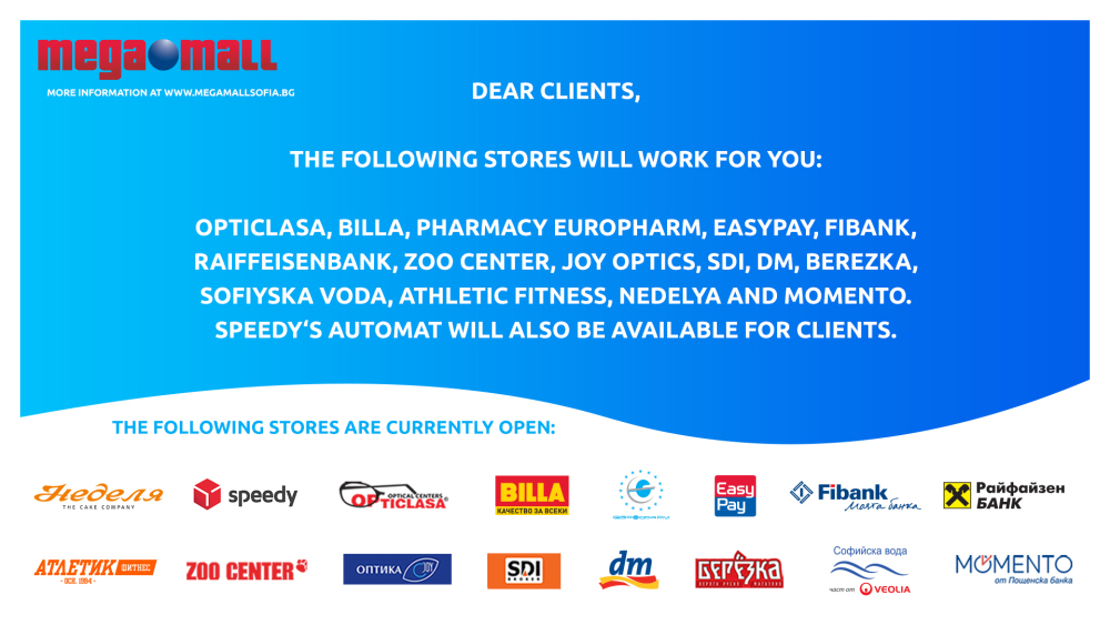 Picture: Information regarding the working stores in Mega Mall