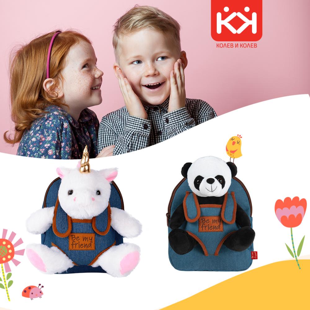 Снимка: Весели детски ранички с плюшени играчки от Колев и Колев